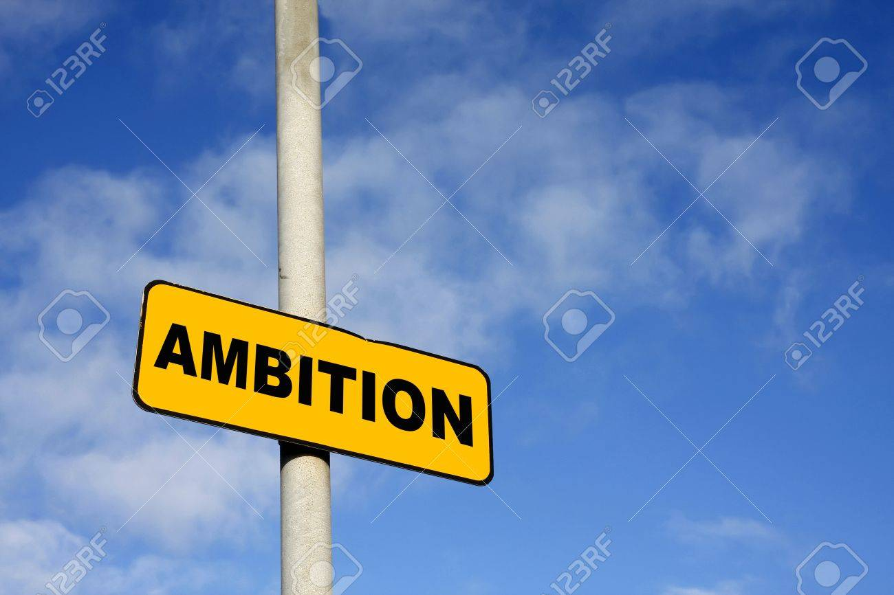 Yellow Ambition sign against a blue sky Stock Photo - 12803003