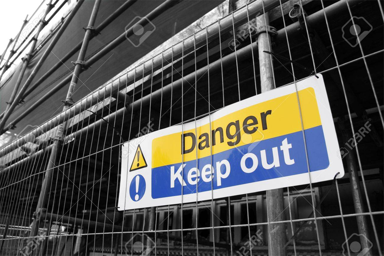 Danger Keep Out sign with black and white background - 13734533