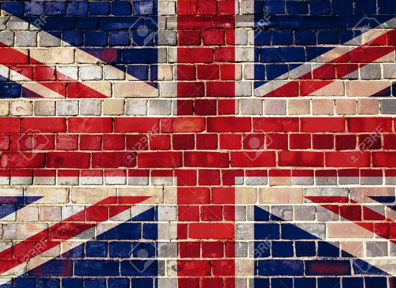 Union flag on a brick wall background - 15194918