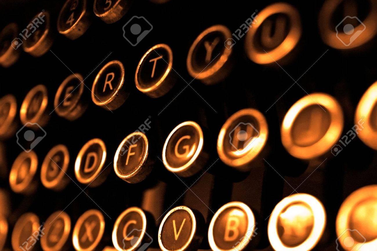 Antique typewriter keys close up, selective focus Stock Photo - 16239460