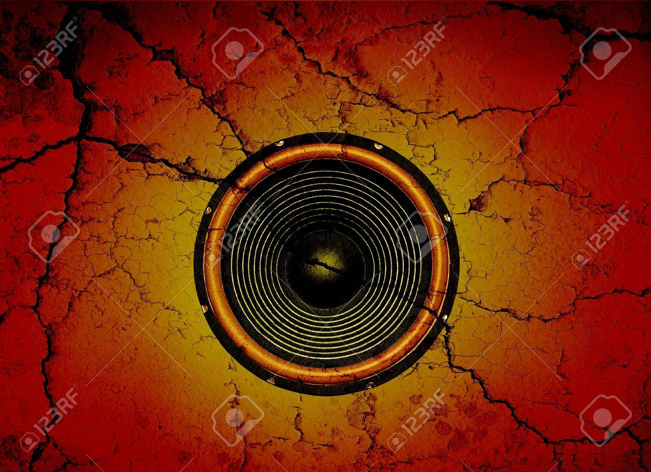 Audio speaker on a cracked wall background - 16239570