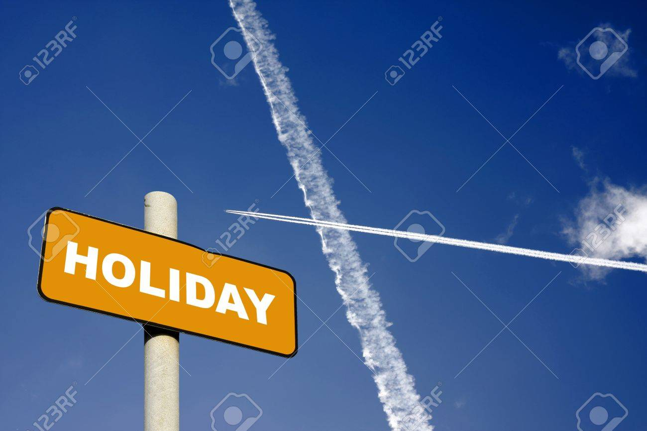 Holiday sign with jet trails crossing in a dark blue sky - 17420455