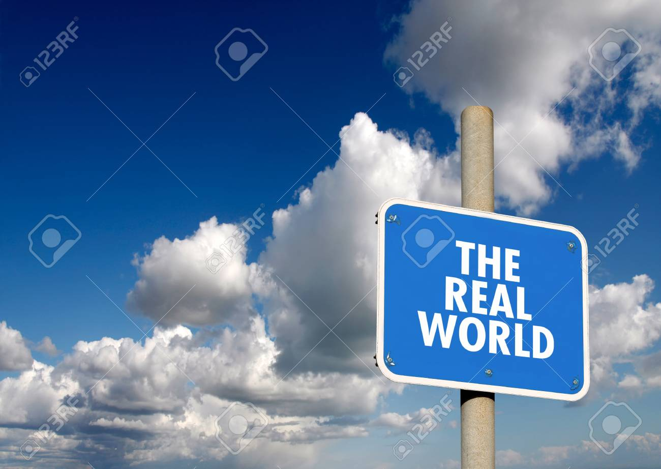 The real world signpost with blue sky and clouds - 24096703