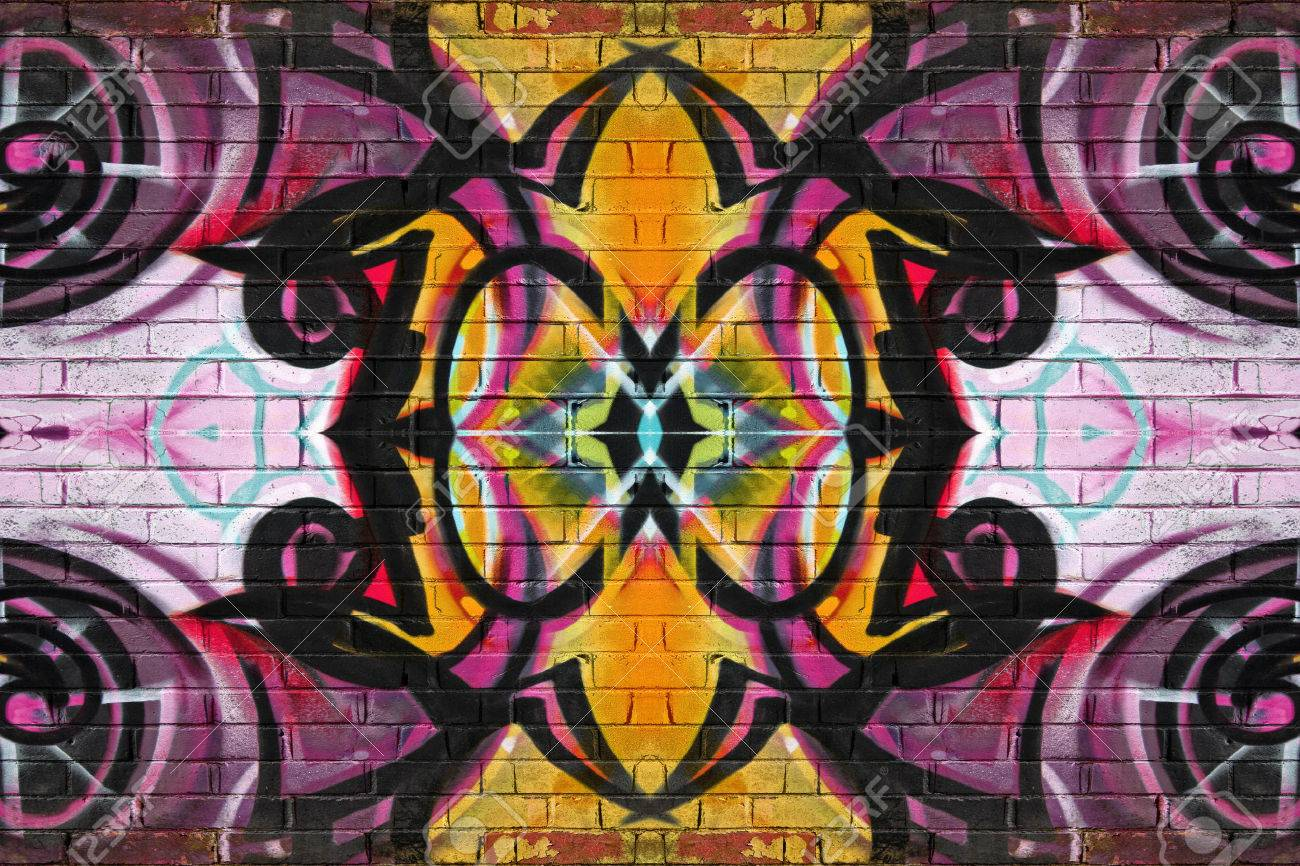 Colourful abstract graffiti on a brick wall background - 26790072