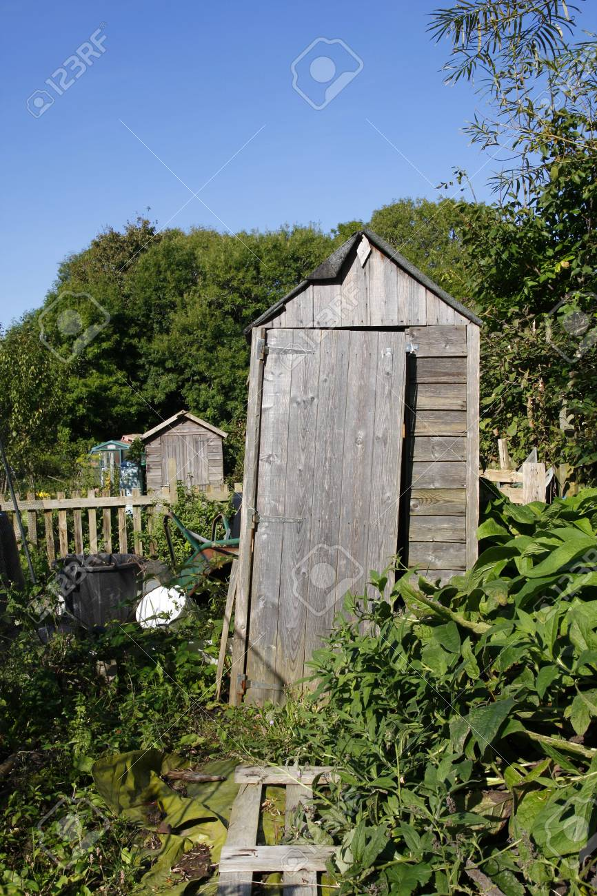 old leaning shed in an allotment stock photo picture and royalty