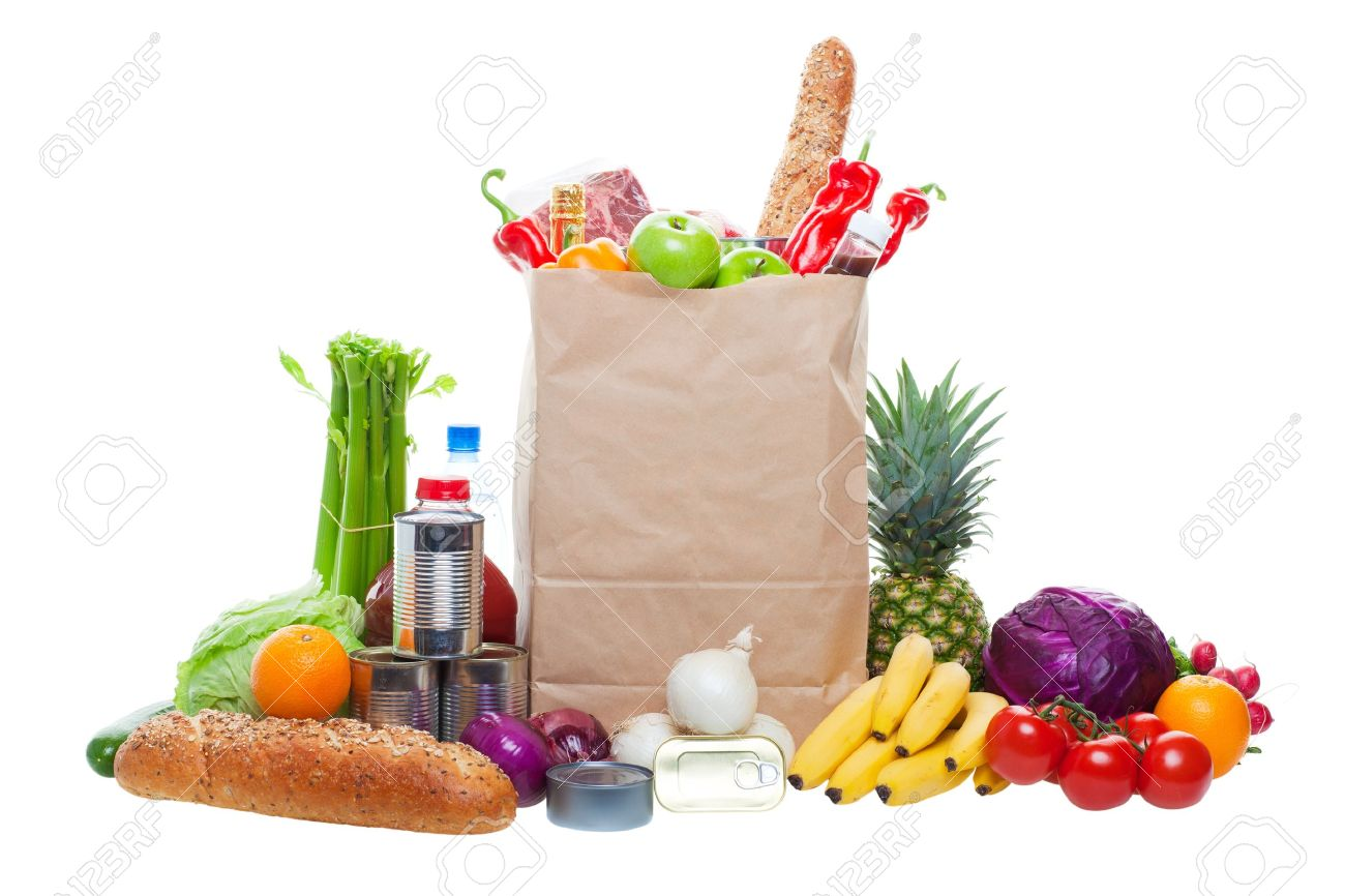 A paper bag full of groceries, surrounded by fruits, vegetables, bread, bottled beverages, and canned goods. Studio isolated on White background Stock Photo - 8258817