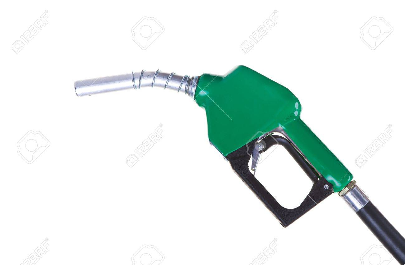 A green fuel nozzle on a white background Stock Photo - 12879681