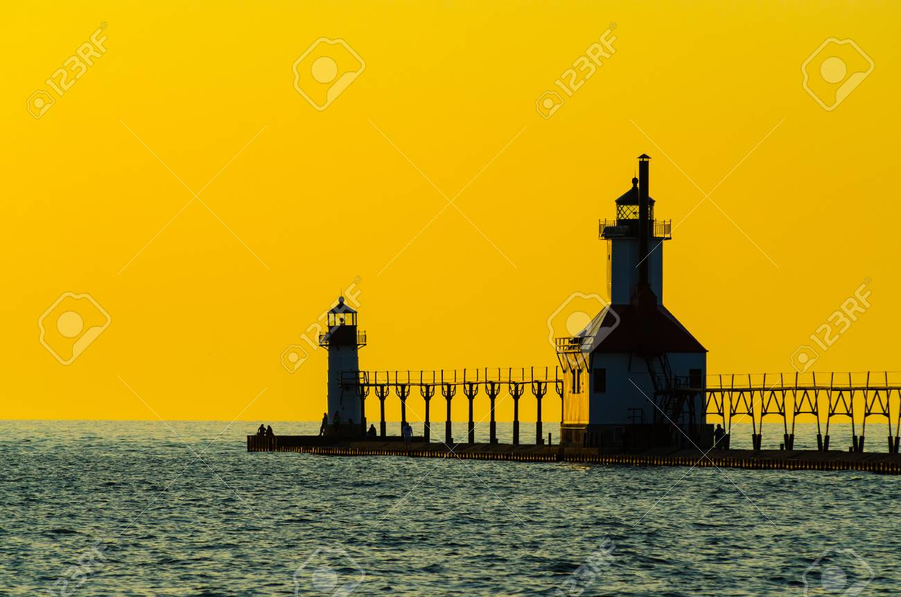 The St  Joseph, Michigan, pier, catwalk and lighthouse shown