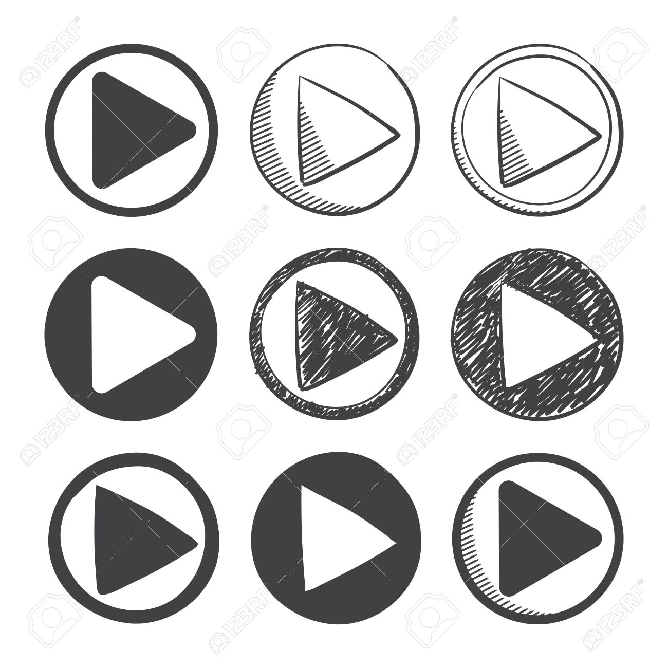 Nine Hand Drawn And Material Design Play Icon Set Sketch Symbol