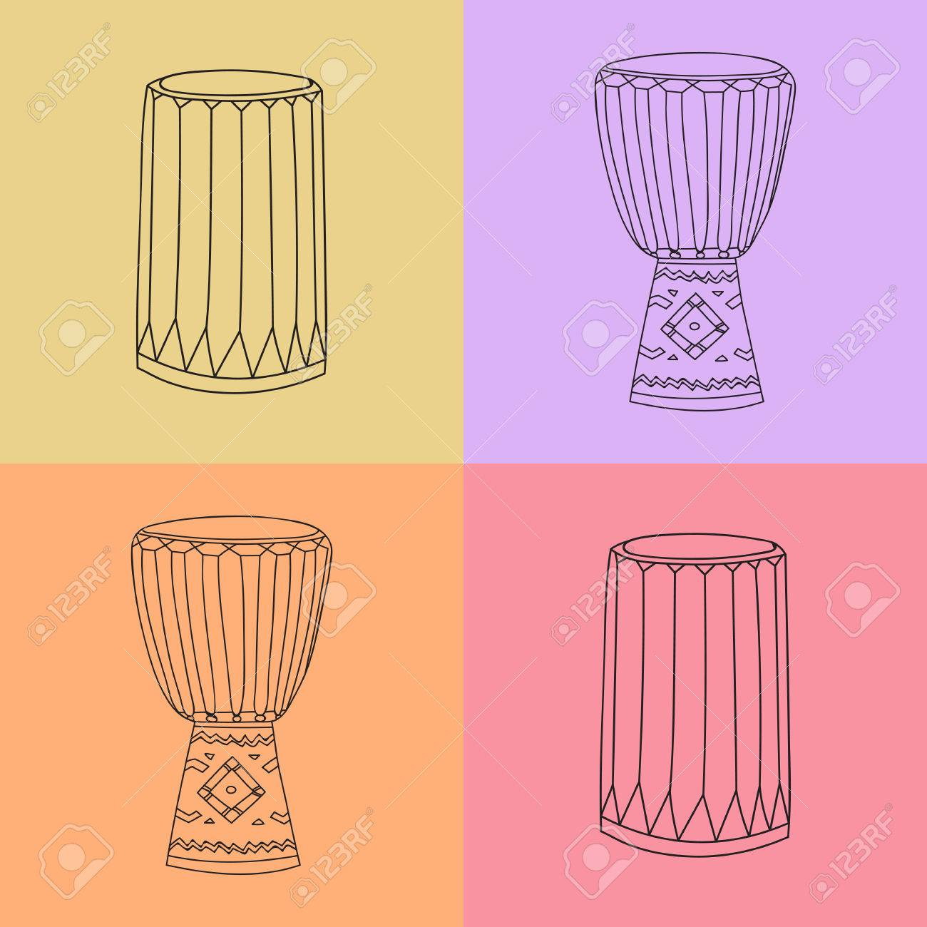 Vector Hand Drawn Djembe And Dunumba African Music Instrument