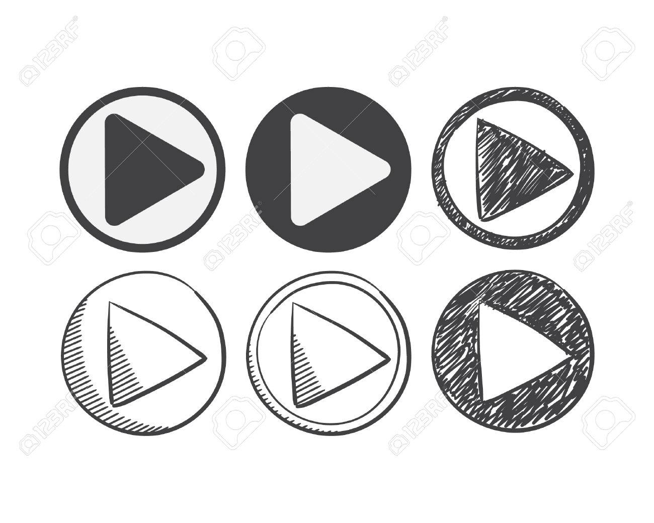 Six Hand Drawn And Material Design Play Icon Set Sketch Symbol