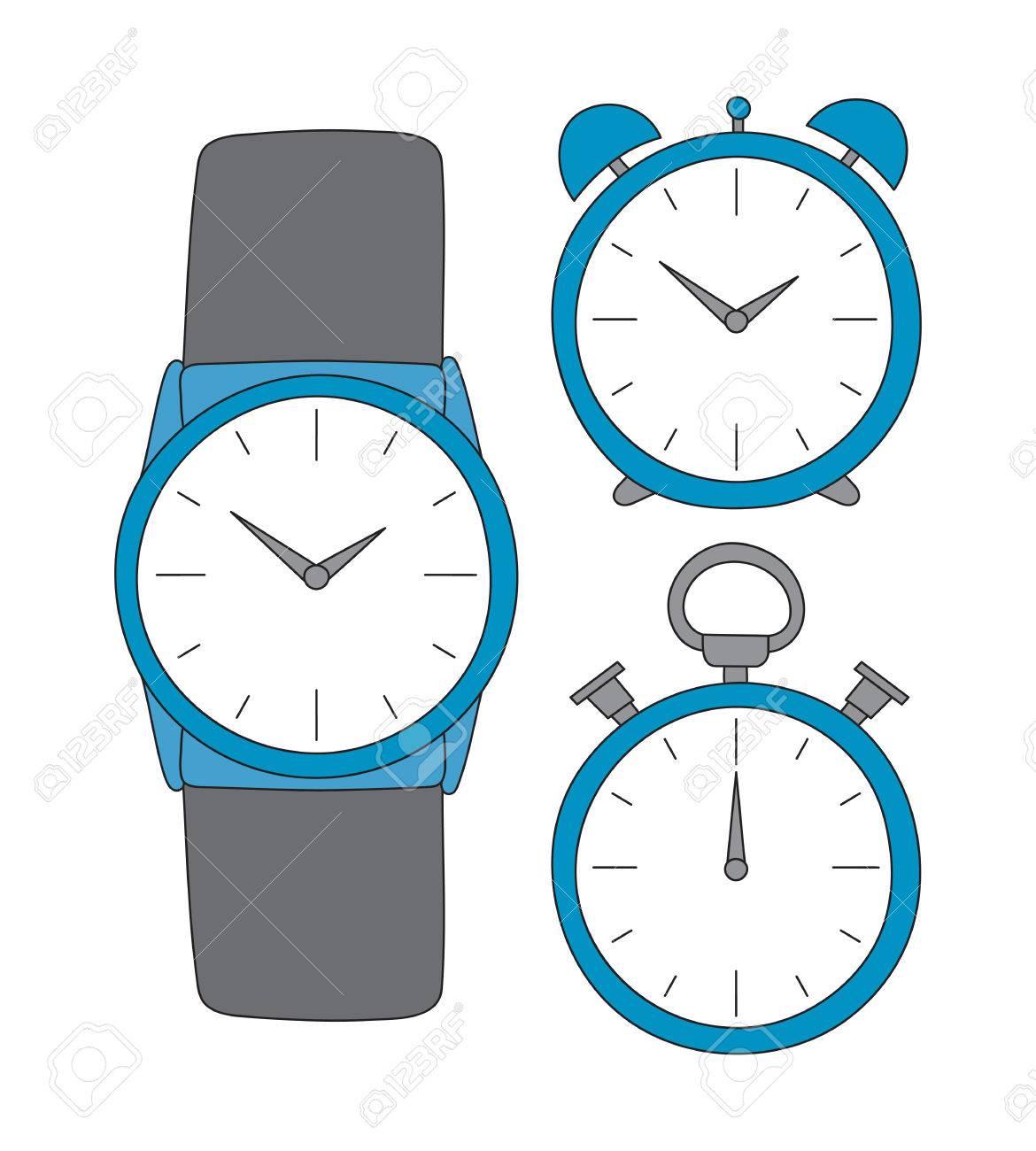 Armbanduhr gezeichnet  Vector Hand Eingestellten Zeit Gezeichnet. Uhr, Armbanduhr Und ...