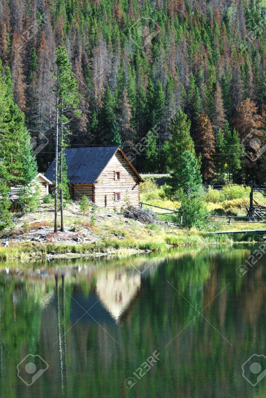 Log cabin in the woods by a lake - Log Cabin In The Woods By A Lake 0