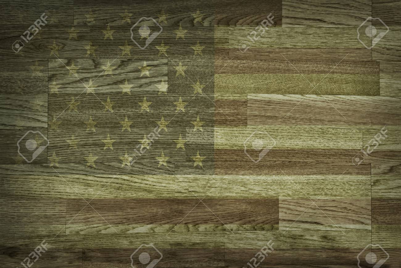 Brown Wood Texture And Background Faded American Flag Painted Backdrop Rustic