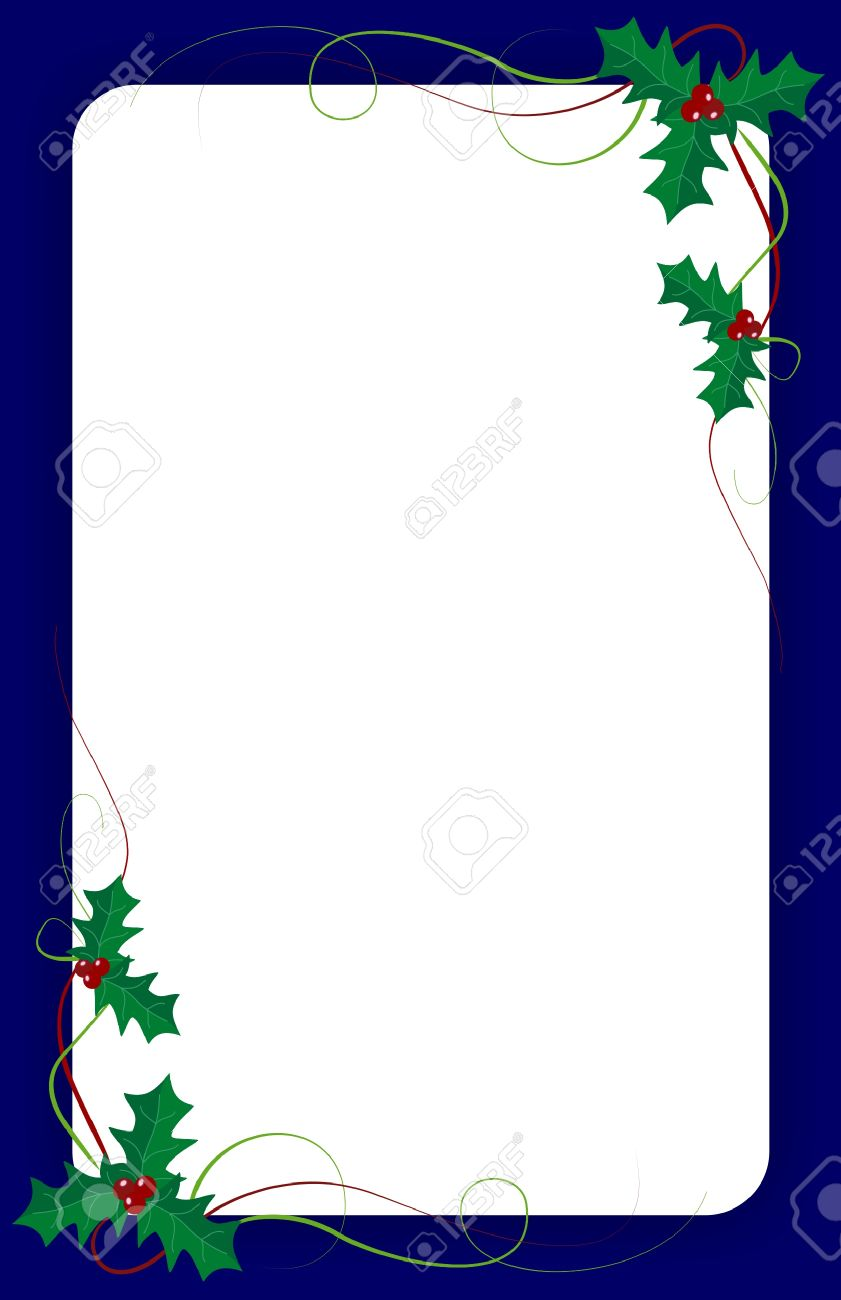 blank christmas invitation template with green ivy and blue border