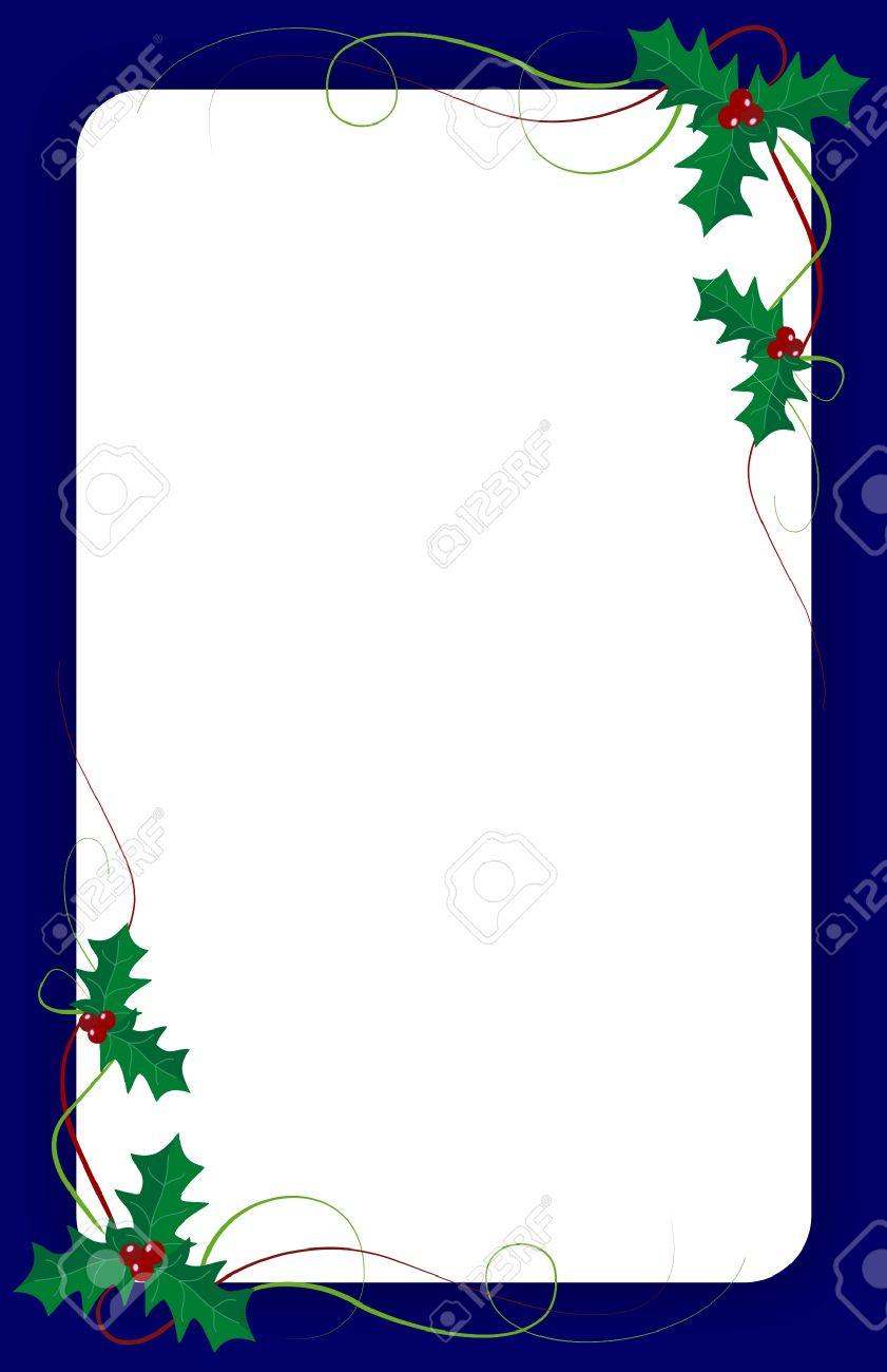 Blank Weihnachten Einladung Vorlage Mit Grünem Efeu Und Blauen Rand ...