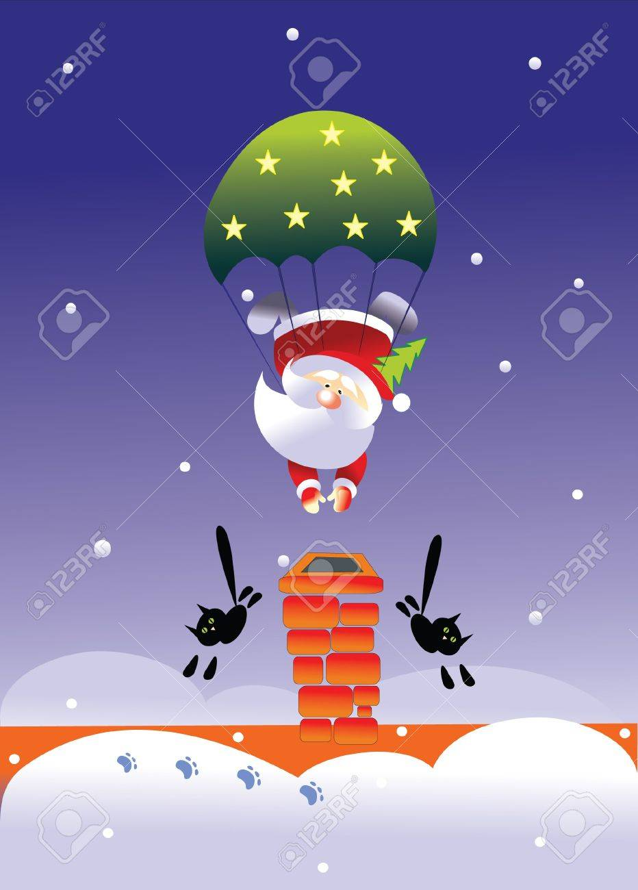 santa and parachute Stock Vector - 7925185