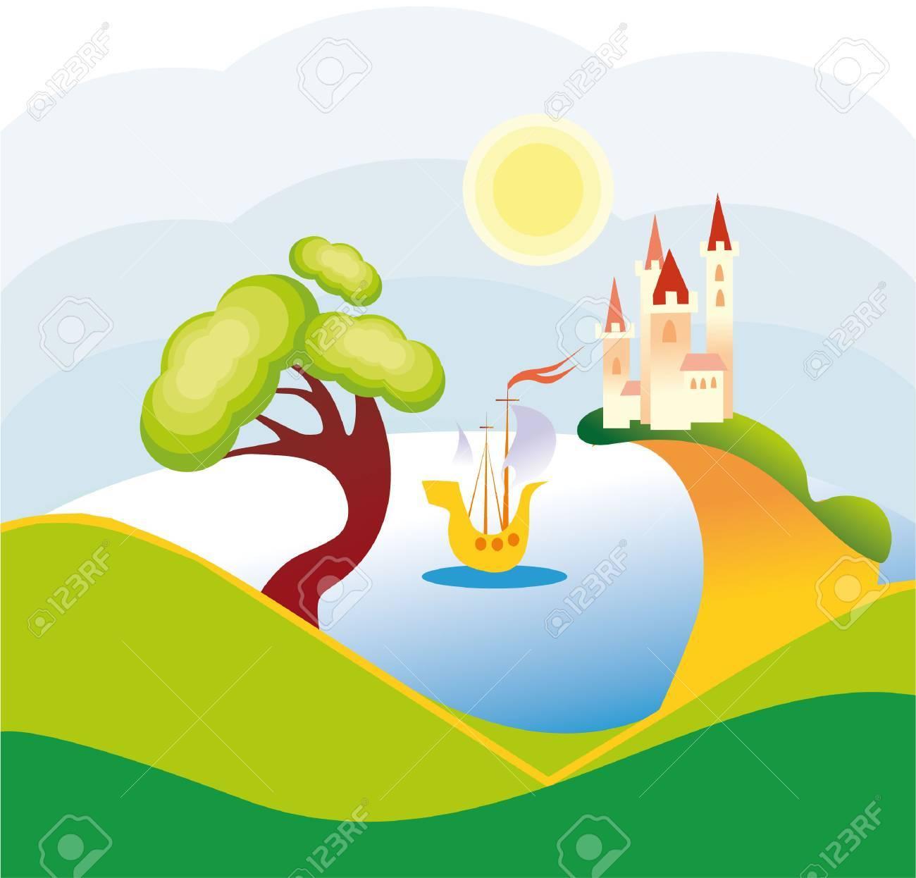 lake landscape Stock Vector - 8342085