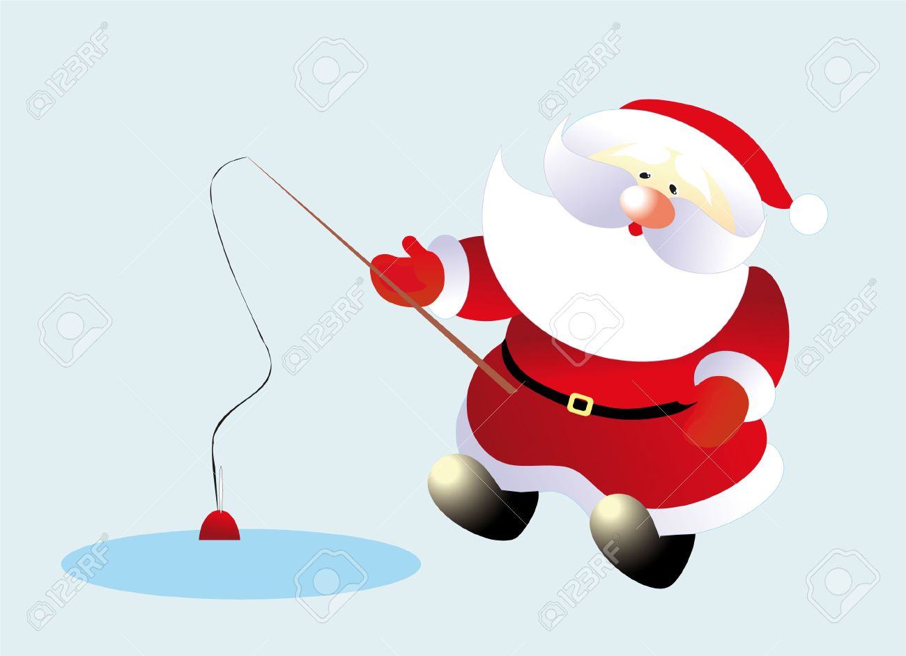 santa and fish Stock Vector - 8298391