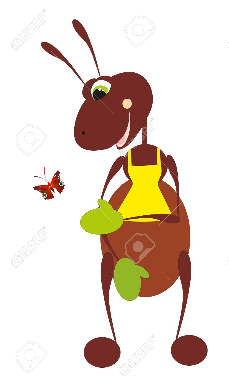 ant and butterfly Stock Vector - 8342470