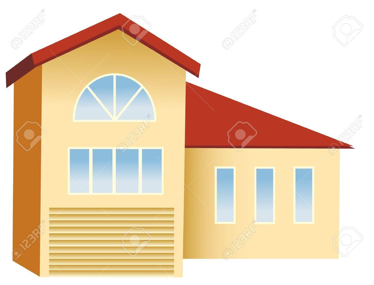 Big House With Red Roof Royalty Free Cliparts Vectors And Stock - Big cartoon house