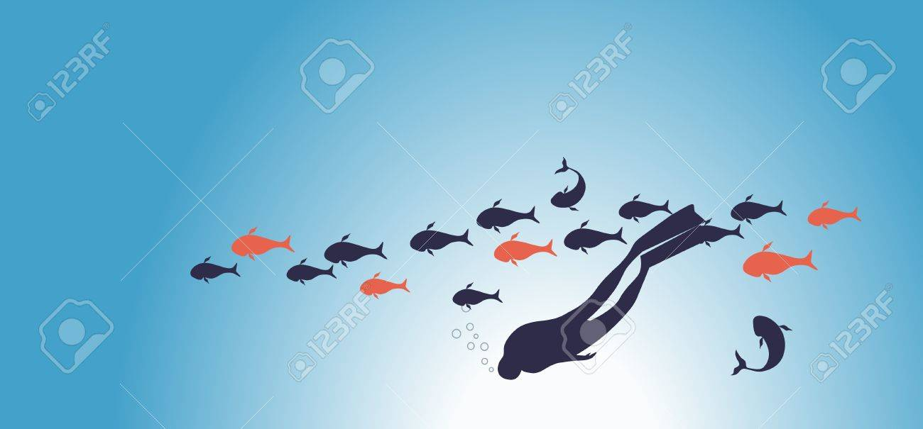 under water together with fish Stock Vector - 8376963