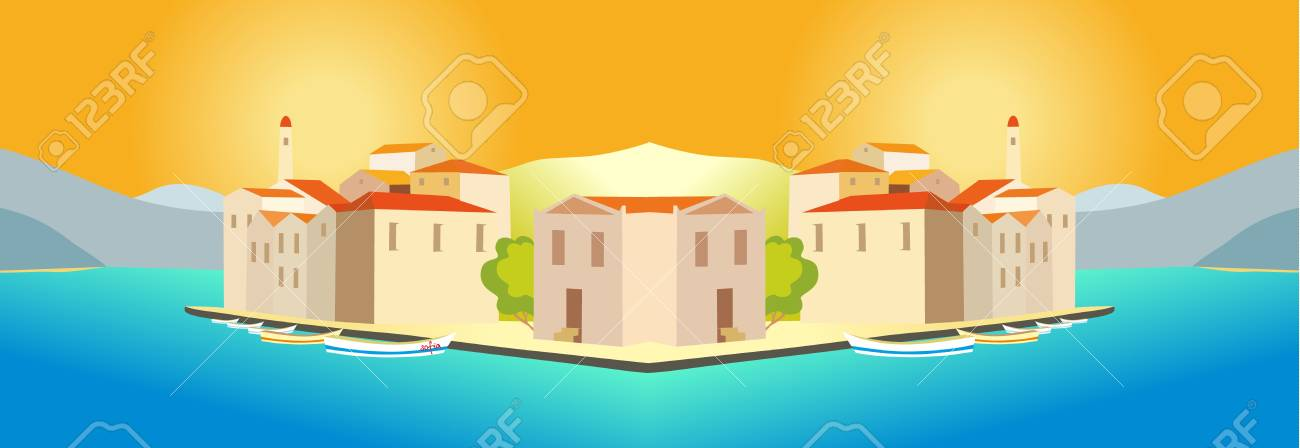 drawing - a city by the sea Stock Vector - 8376983