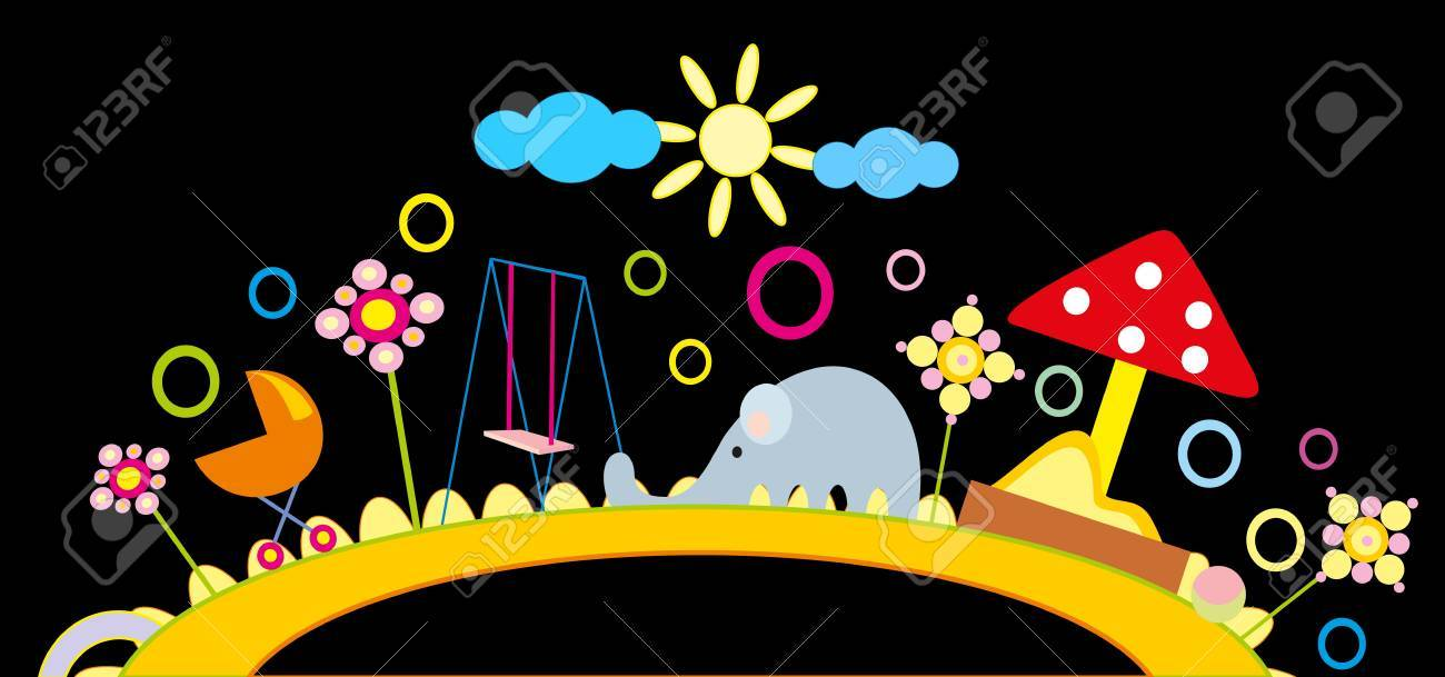 baby drawing - a nursery playground Stock Vector - 8377168