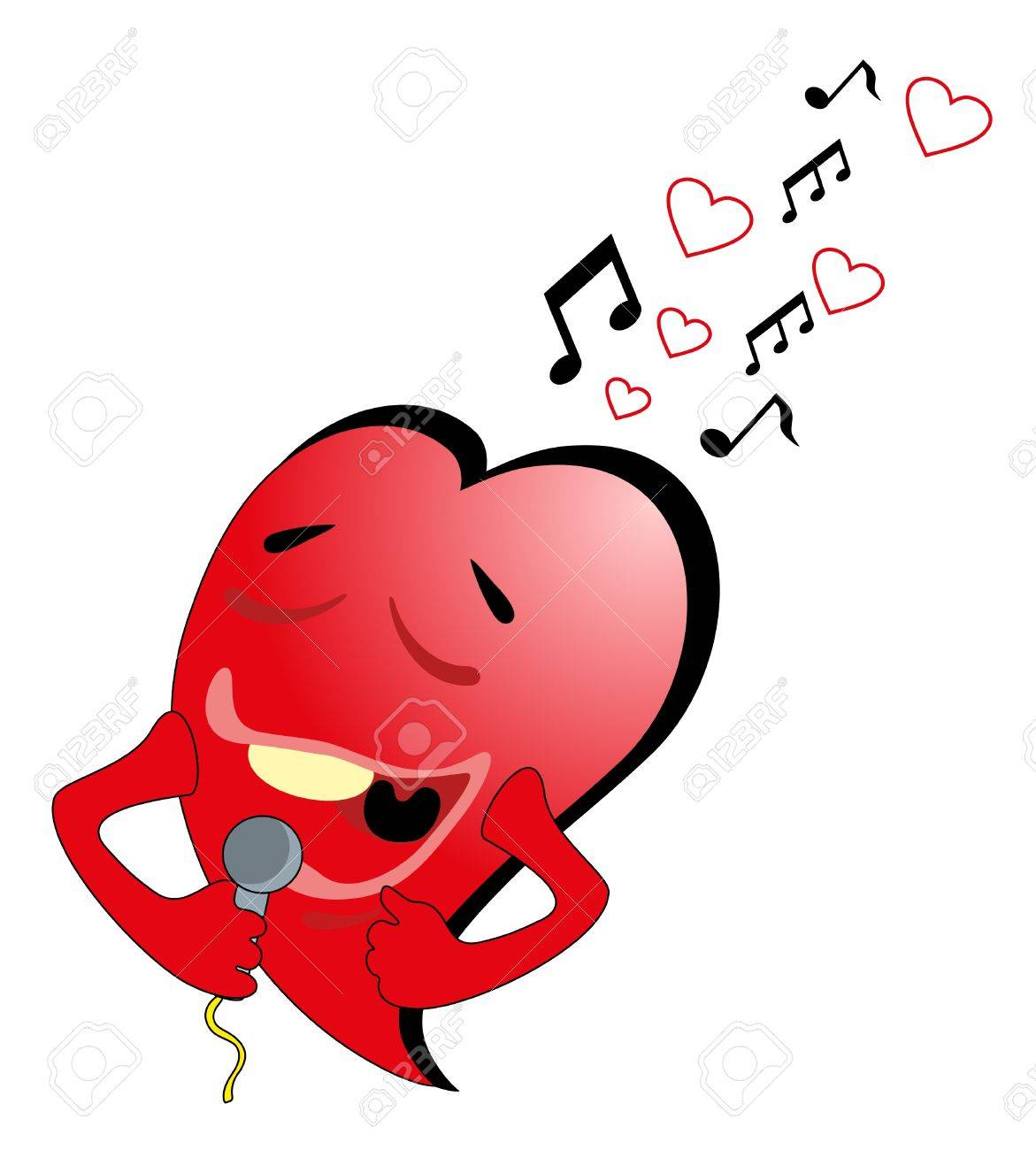 Vector illustration. Valentine heart and microphone Stock Vector - 8781721
