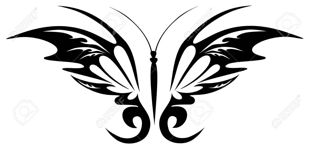 8310cbe37 Tattoo Black Butterfly Royalty Free Cliparts, Vectors, And Stock ...