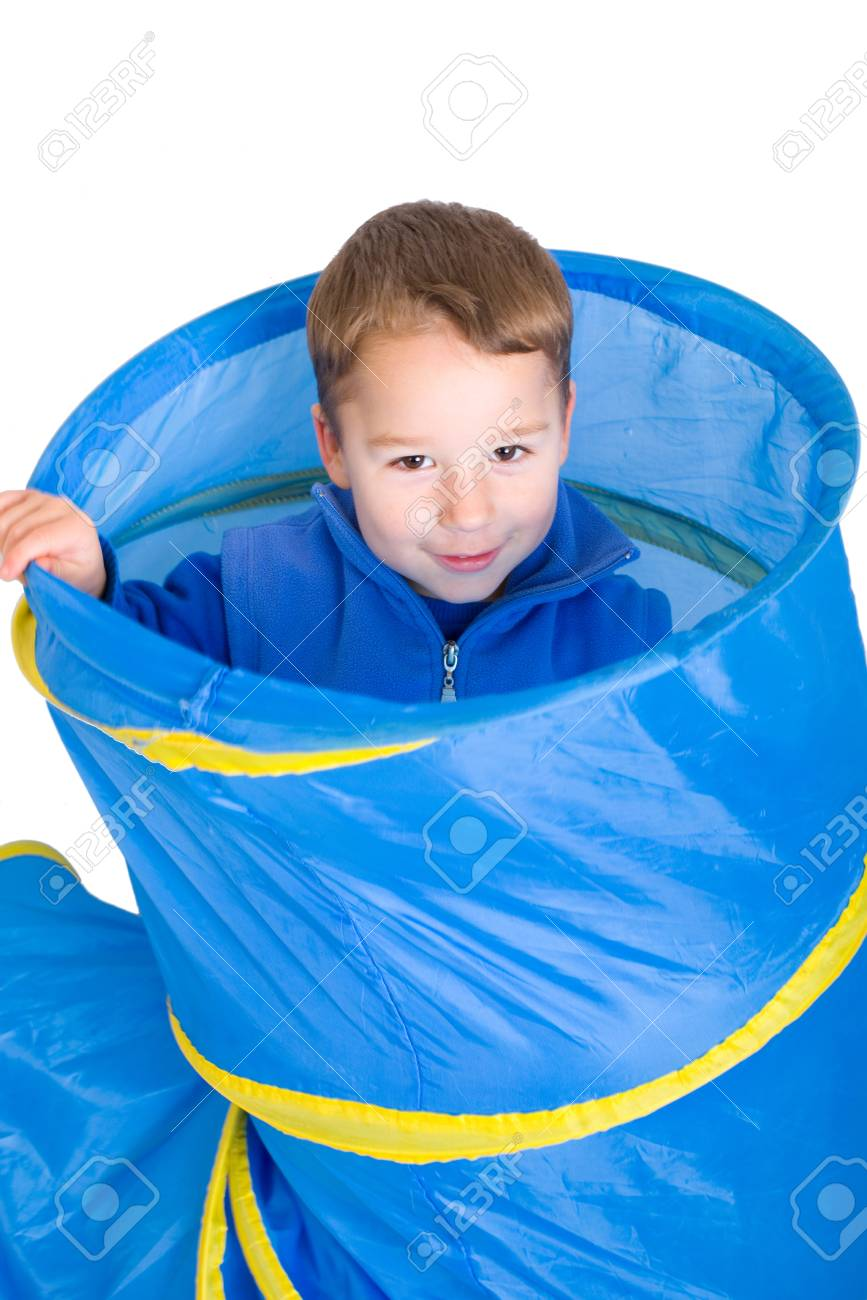 little boy in a crawling tunnel Stock Photo - 25270778