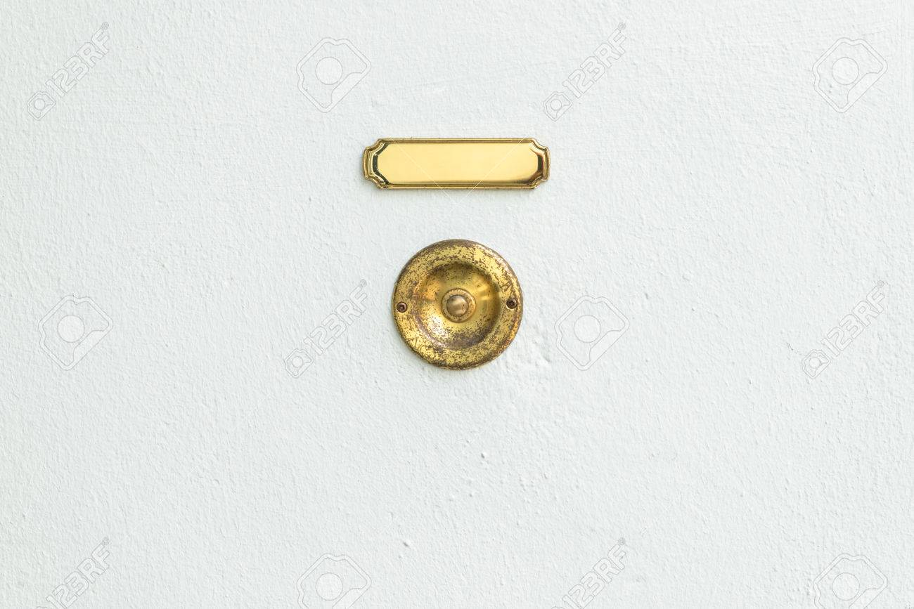 Old Vintage Door Bell With Empty Name Plate Stock Photo   84565549