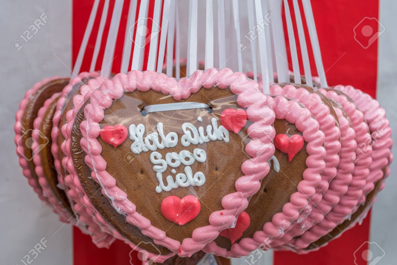 Gingerbread Hearts At A Festival With German Words
