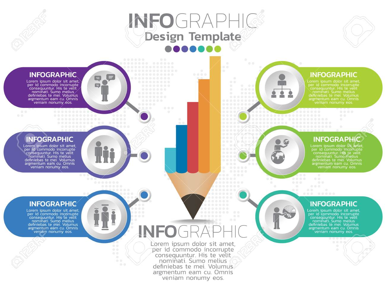 Infographic template design with 6 color options. - 115166200