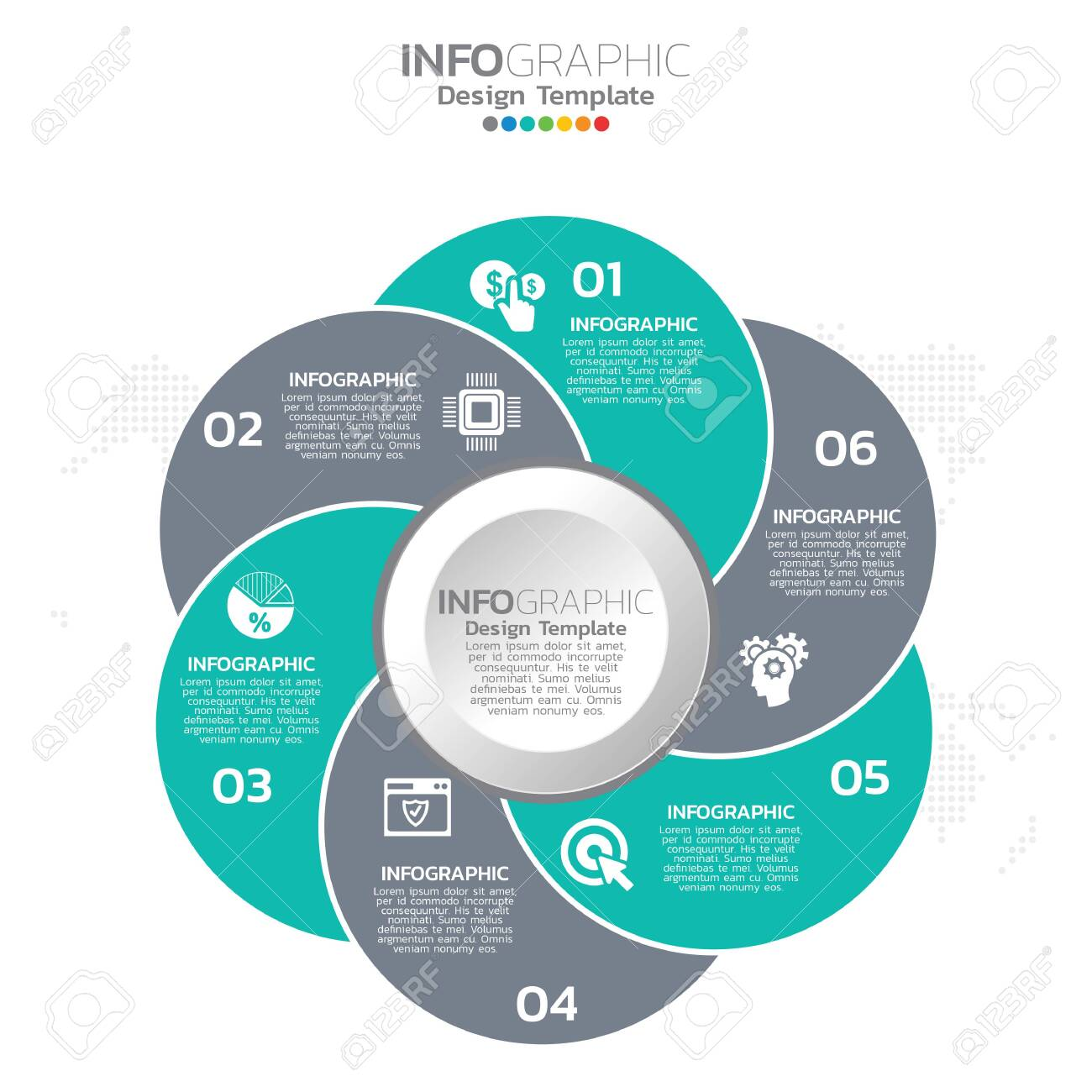 Infographic template design with 6 color options. - 148213798