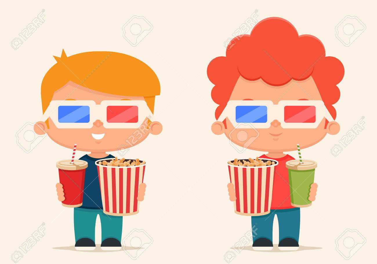 Cute Cartoon Kids With Popcorn And Soda Ready To Watch The Movie Royalty Free Cliparts Vectors And Stock Illustration Image 53458039