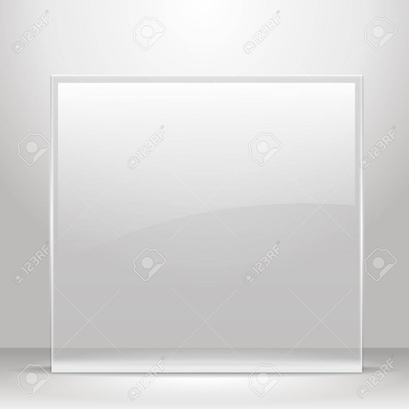 Glass frame for images and advertisement. Empty room. - 49384106