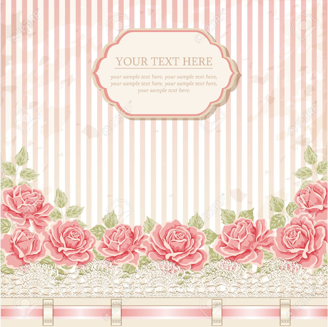 Vintage background with roses ribbon lace vector greeting card vintage background with roses ribbon lace vector greeting card invitation template imagens stopboris