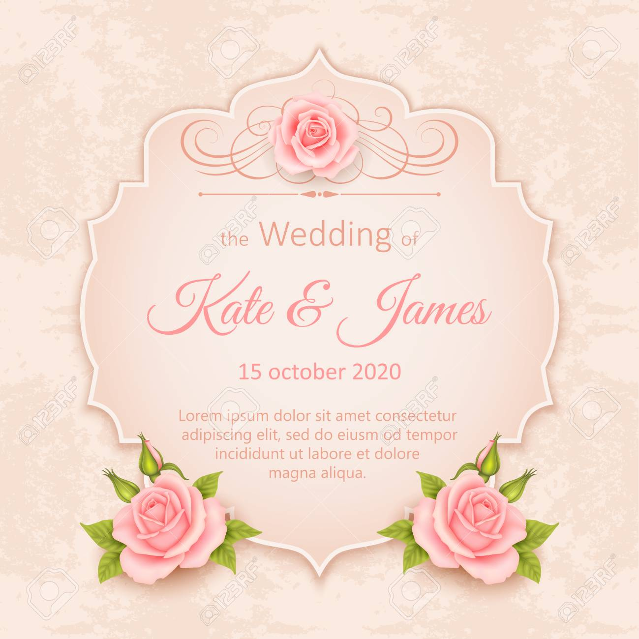 Beautiful Design Wedding Invitation With Roses Vintage