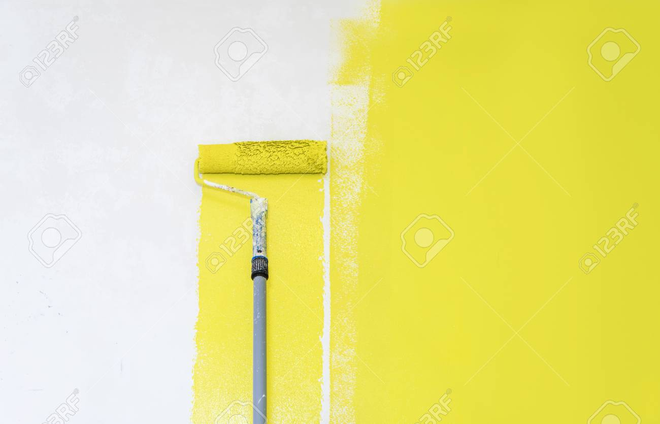 Painter Use Paint Roller On White Wall Stock Photo, Picture And ...