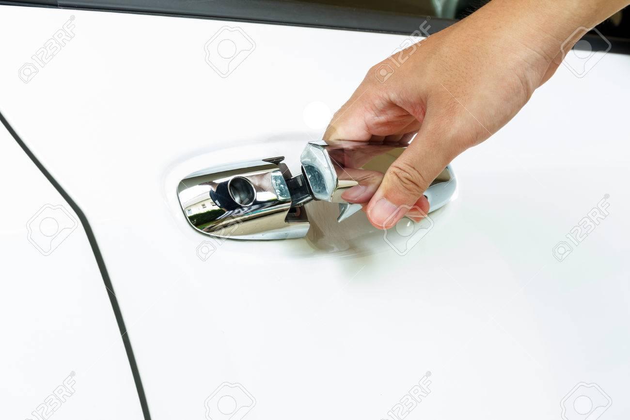 car door handle hand. Fine Car Open The Car Door With Hand On Handle Stock Photo  44585604 To Car Door Handle Hand