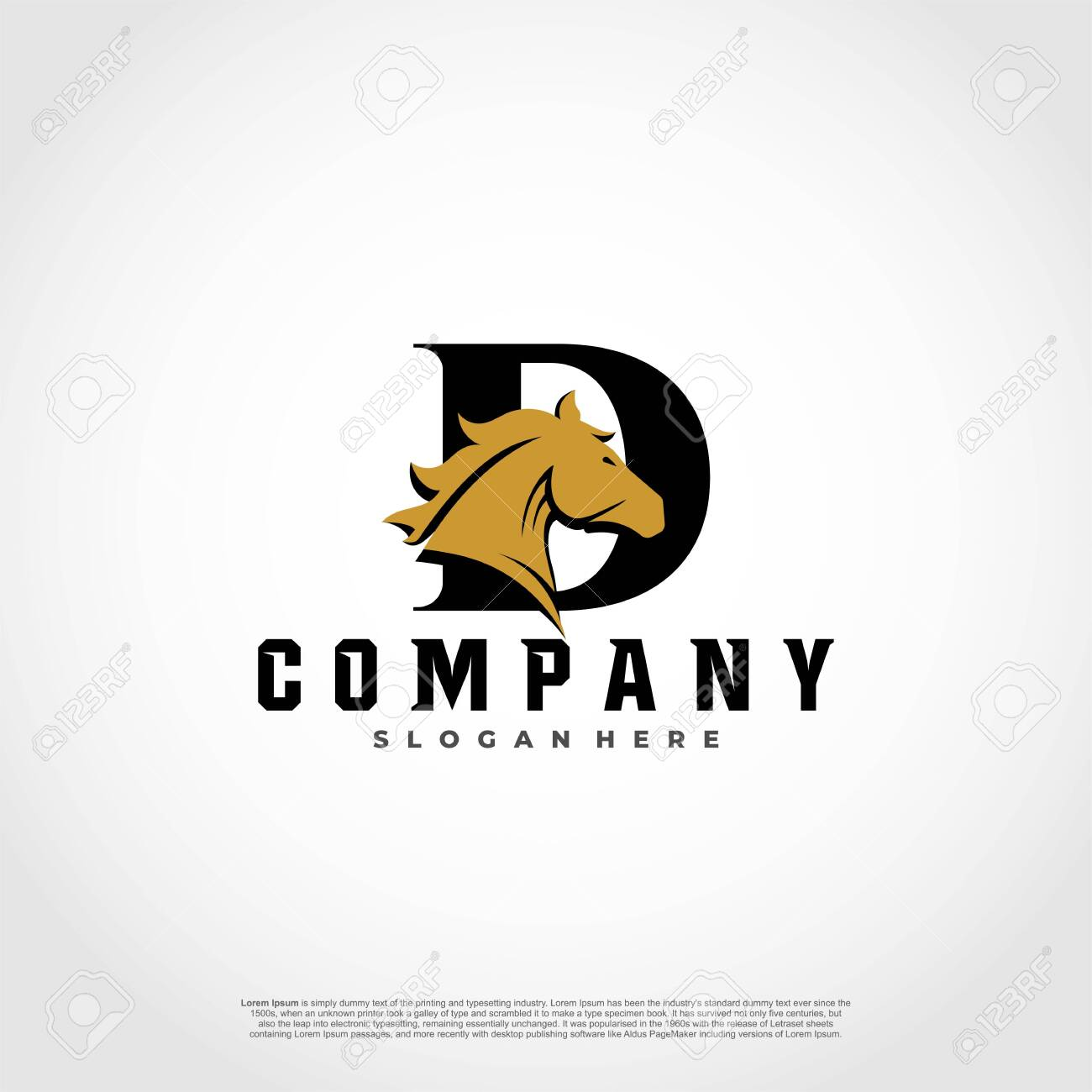 D Initial Letter Logo Design With Silhouette Horse Royalty Free Cliparts Vectors And Stock Illustration Image 128658035