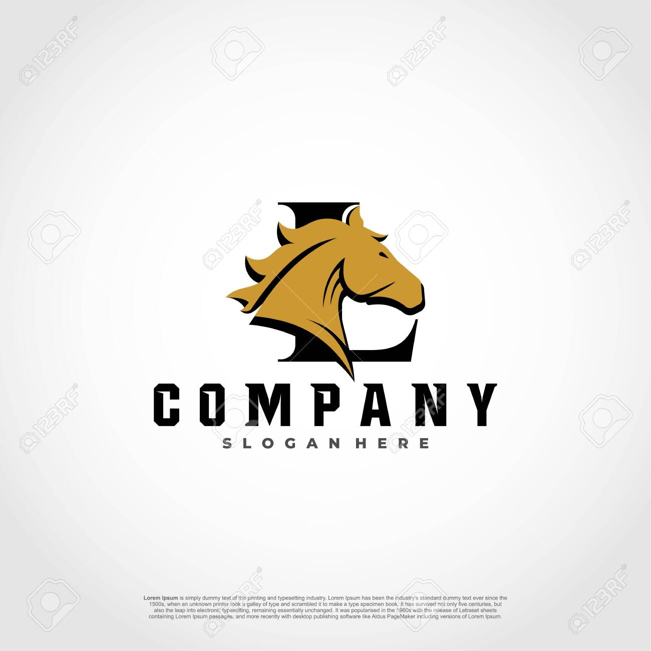 L Initial Letter Logo Design With Silhouette Horse Royalty Free Cliparts Vectors And Stock Illustration Image 128658302