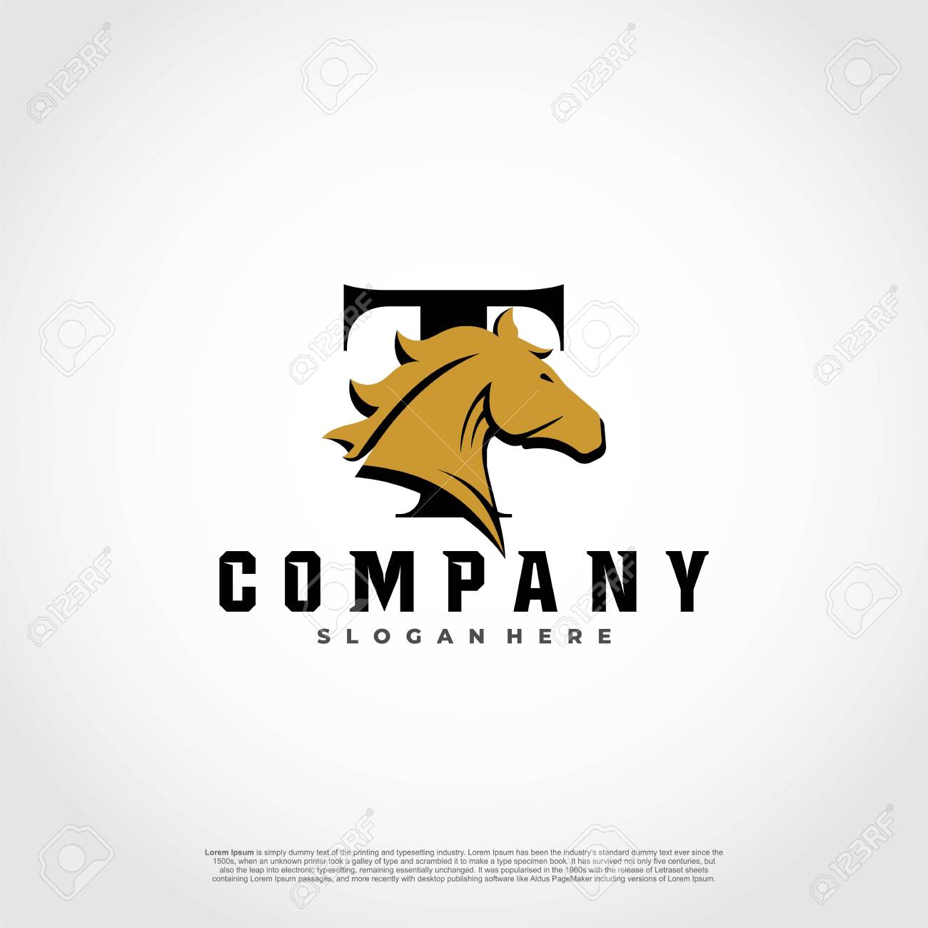 T Initial Letter Logo Design With Silhouette Horse Royalty Free Cliparts Vectors And Stock Illustration Image 128638869