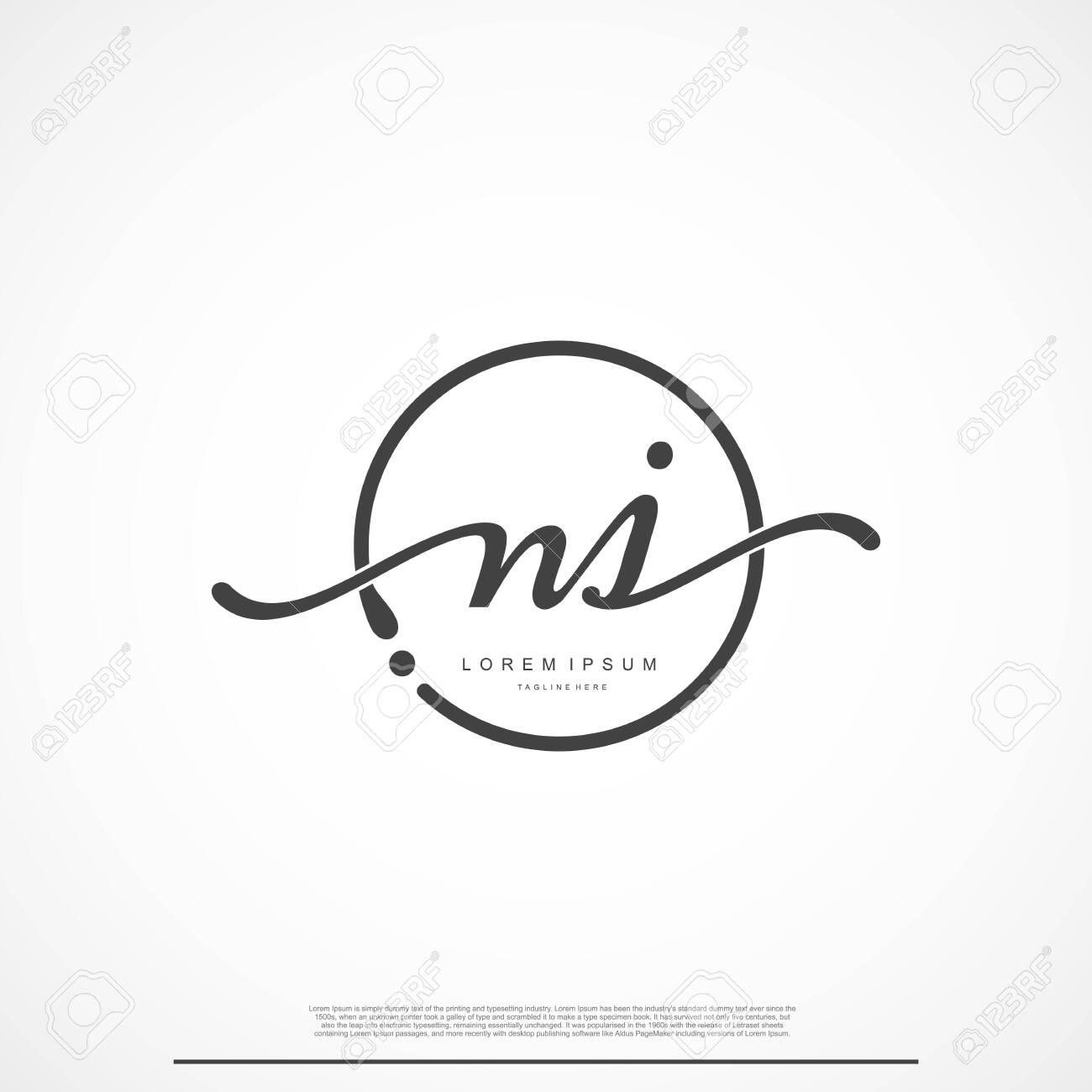 Elegant Signature Initial Letter NJ Logo With Circle. - 133234798