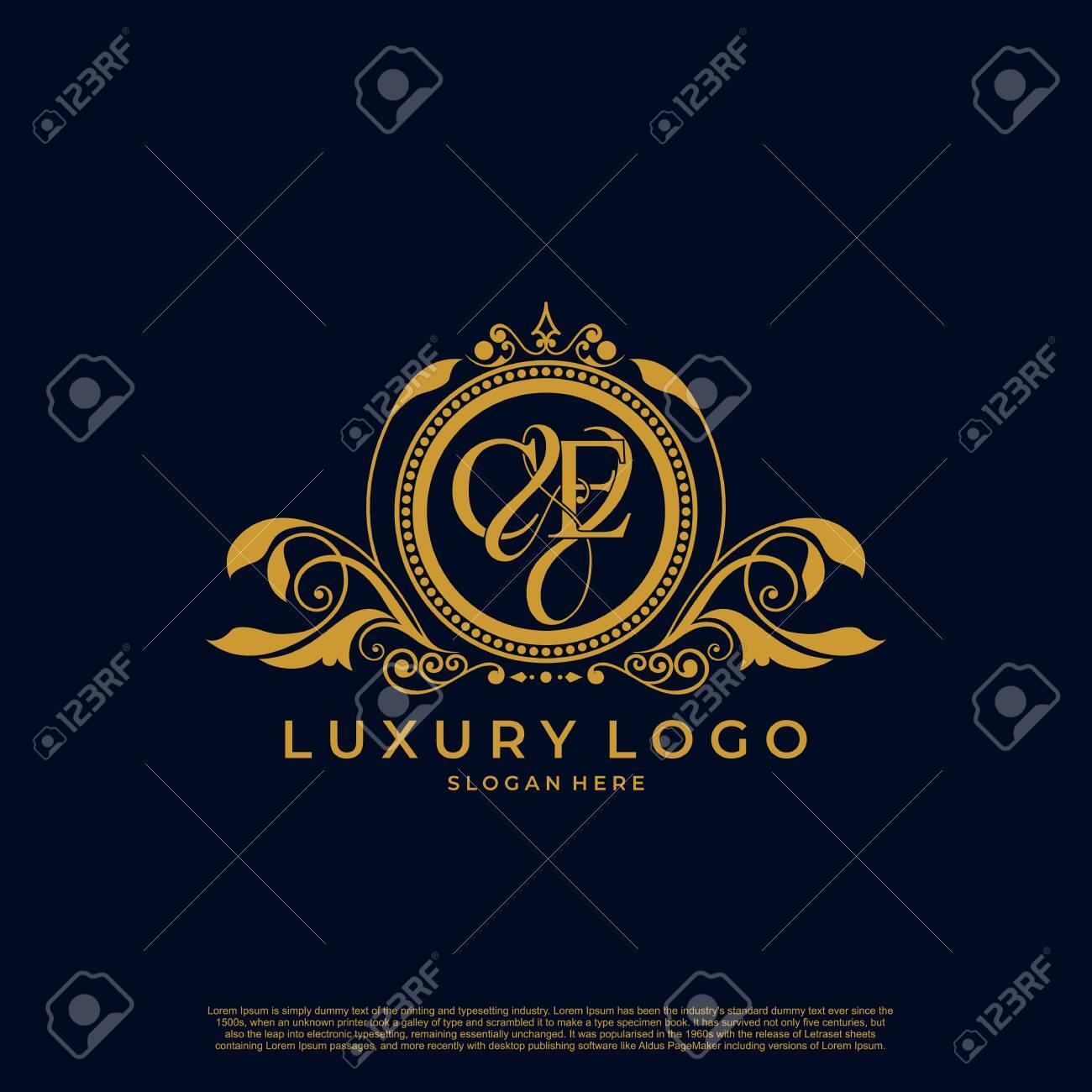 Logo Initial letter CE luxury vector mark, gold color elegant classical symmetric curves decor. - 135816430