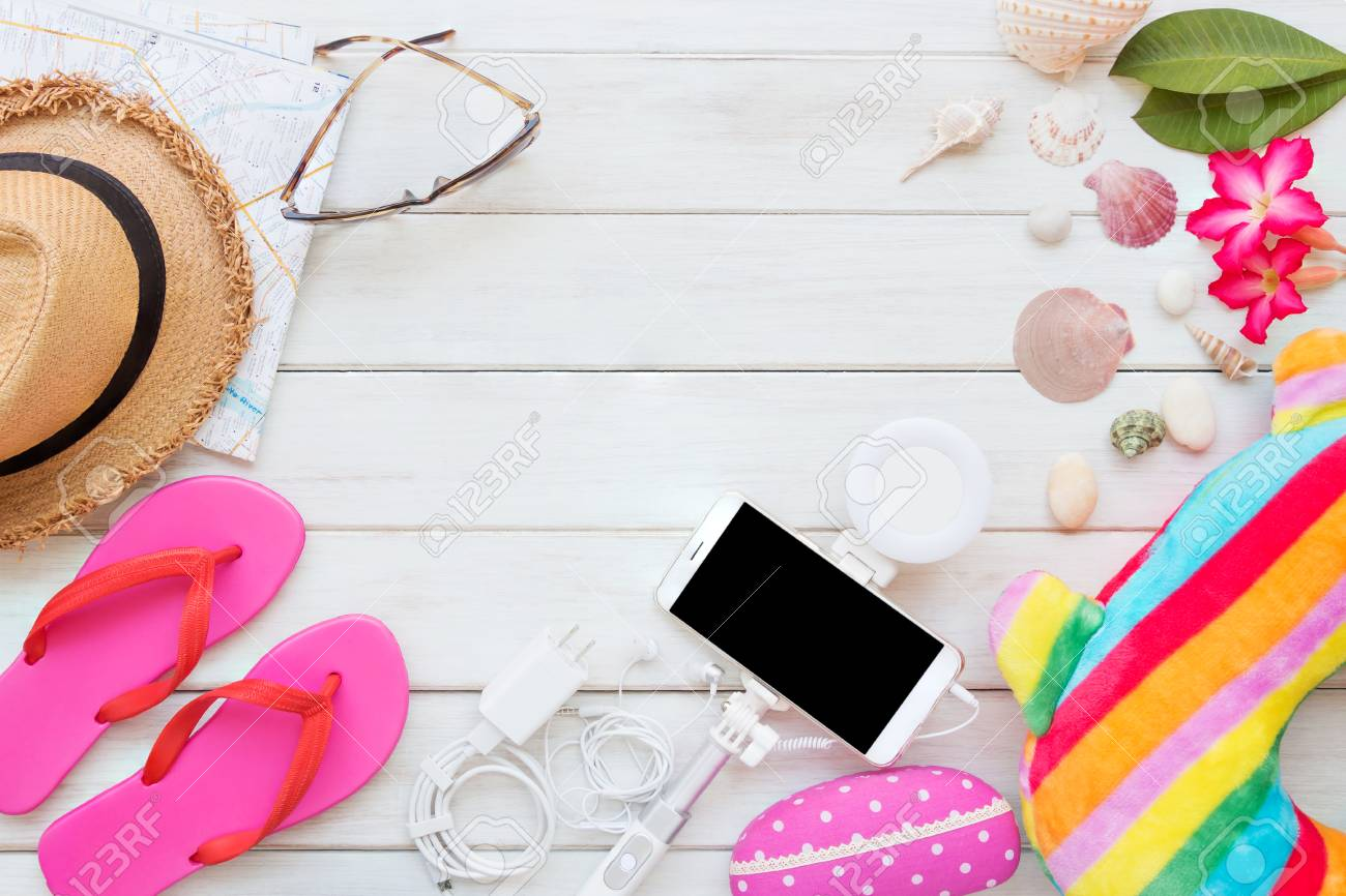 Overhead Top View Flat Lay Women S Accessories And Essential Stock Photo Picture And Royalty Free Image Image 94744699