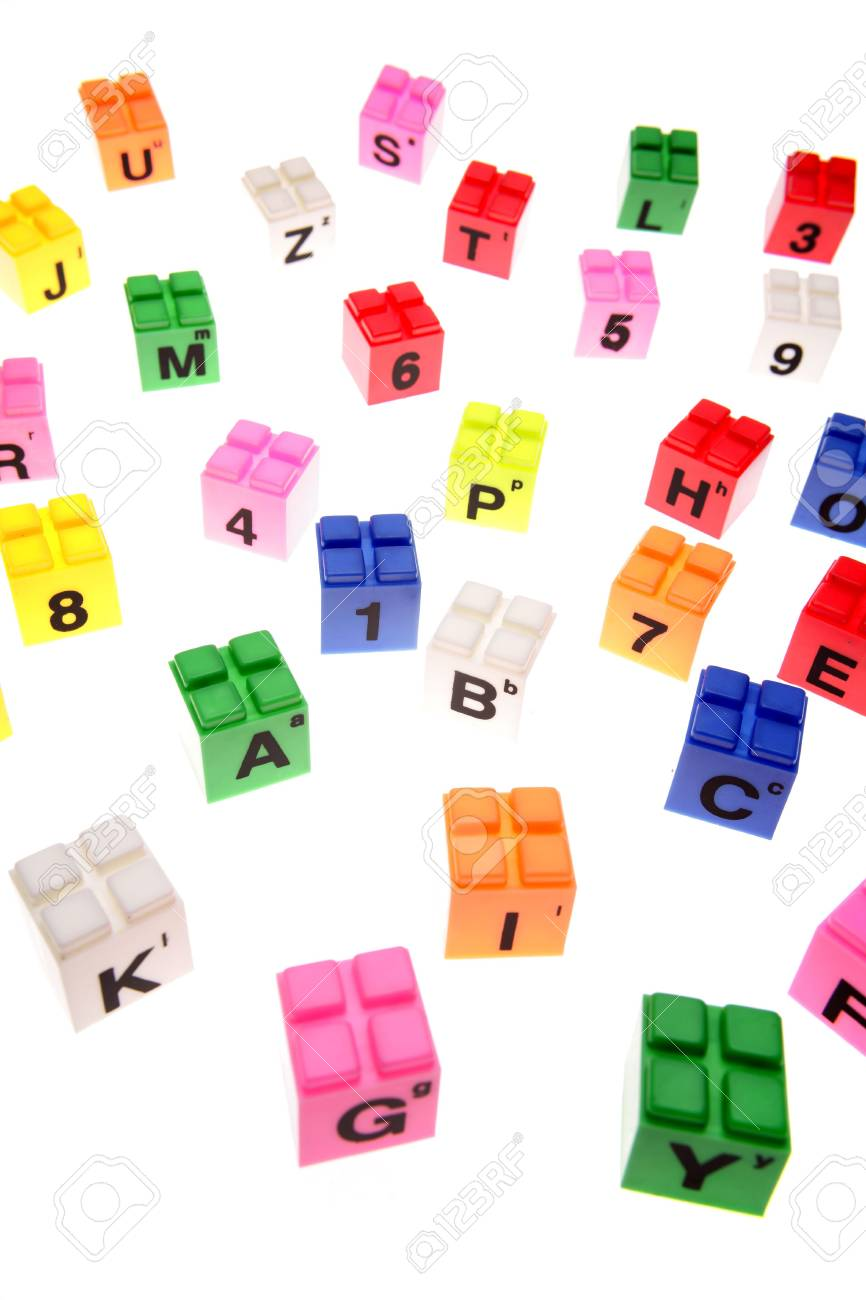 Colorful learning blocks over white Stock Photo - 2334357