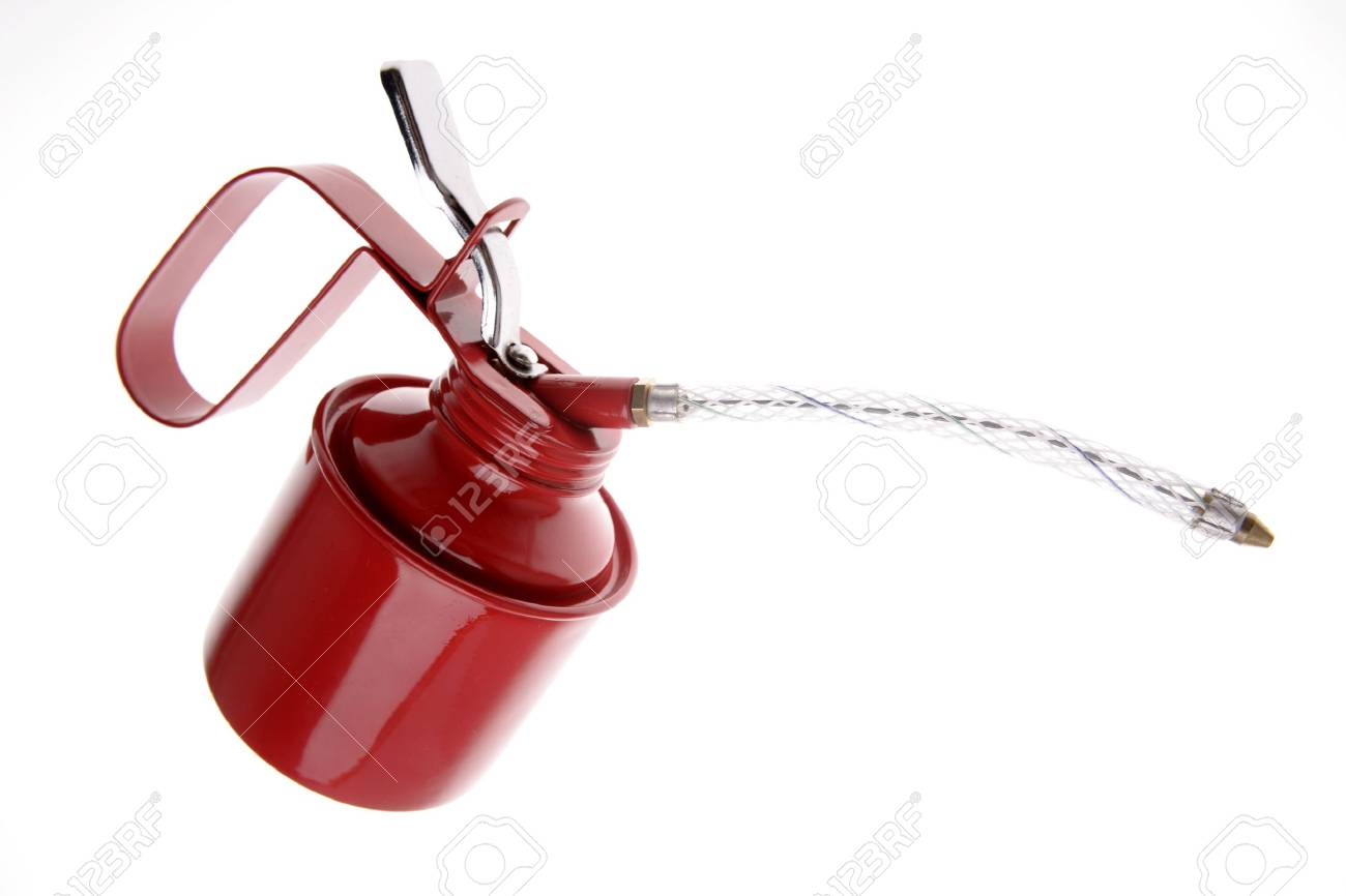 Red oil can isolated over white Stock Photo - 2344687