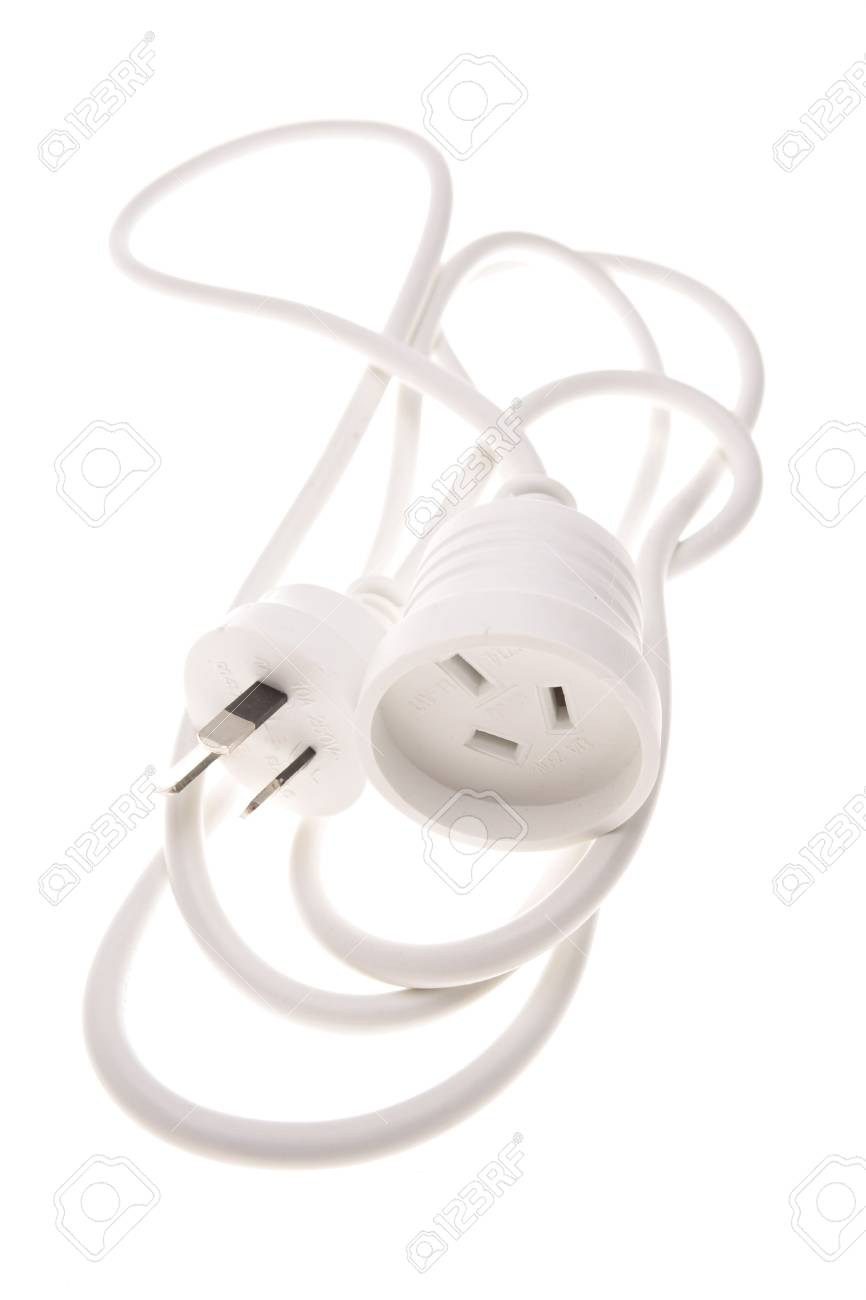 Electrical plugs and cable over white background Stock Photo - 2601510